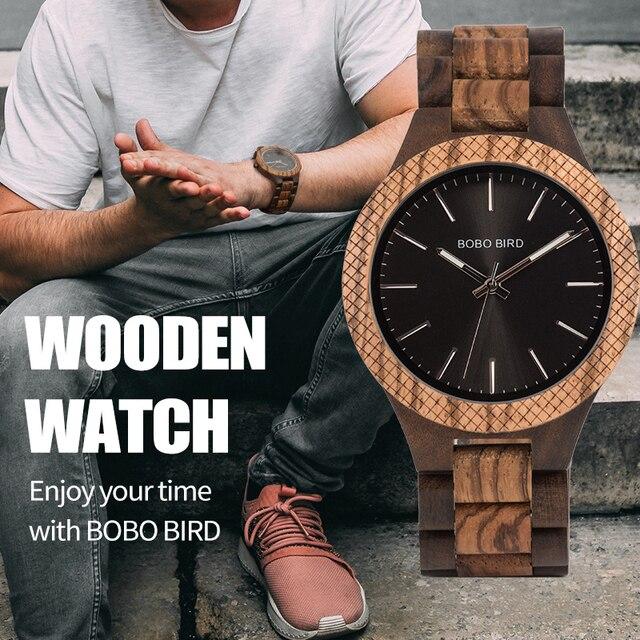 BOBO BIRD ساعة خشب رجال بيان كول ساتي كوارتز رجالي ساعات مع يد مضيئة في صندوق هدايا خشبي دروبشيبينغ شعار مخصص
