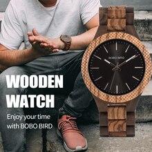 Bobo pássaro relógio de madeira homem bayan kol saati quartzo relógios dos homens com as mãos luminosas na caixa de presentes de madeira dropshipping logotipo personalizado