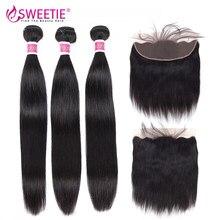 Tissage en lot brésilien non remy avec Frontal – sweettie, cheveux naturels, lisses, avec Closure, lots de 3/4