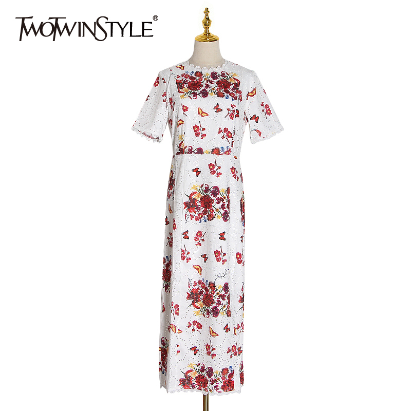TWOTWINSTYLE Elegant Print Patchwork Lace Women Dress O Neck Short Sleeve High Waist Hollow Out Dresses Female Fashion 2020 Tide