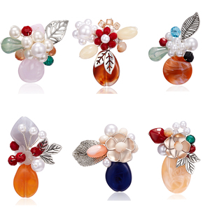 Rinhoo Resin Pearl Crystal Handmade Flower Brooches Pins Colorful Simple Wedding Brooches Pins Jewelry Women Dress Lapel Corsage