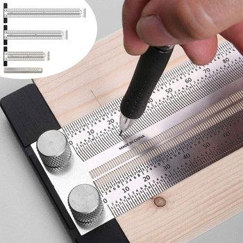 Wysoka precyzyjna waga linijka t-type Hole Marking linijka t-rule Steel Woodworking Scribing Mark Line Gauge Carpenter measurement Tool narzedzia stolarskie narzędzia pomiarowe i pomiarowe stolarstwo narzedzia narzędzi tanie i dobre opinie Inpelanyu CN (pochodzenie) NONE Stainless Steel Woodworking Scribe 180mm-400mm carpenter tools carpentry tools t ruler