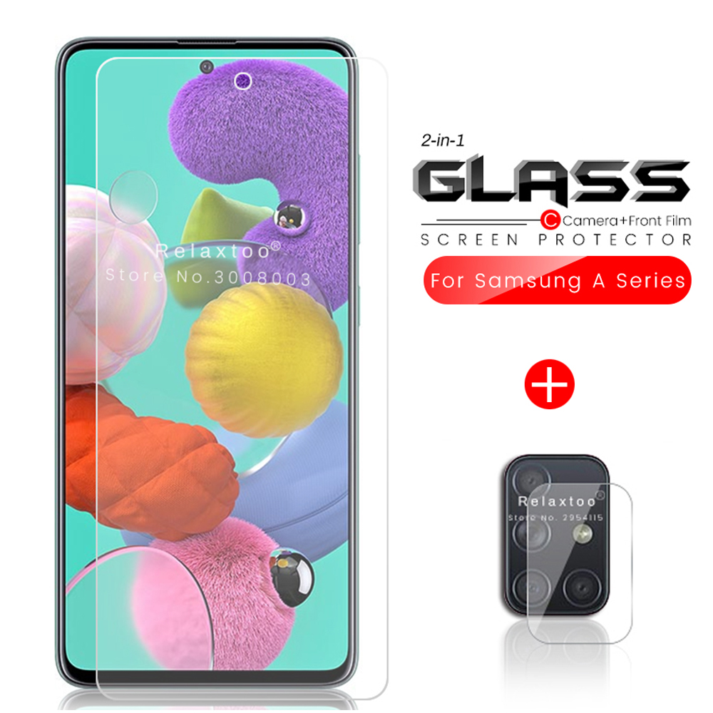 2-in-1 Armor Protection Glass For Samsung Galaxy A10 A20 A20s A20e A30 A30s A40 A50 A50s A70 A70s A80 A51 A71 2019 Camera Glass