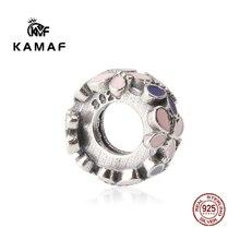 KAMAF 100% Genuine 925 Sterling Silver Bead Flower, Leaf, Wing, Peach Heart Big Hole Bead Necklace Pendant