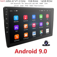 2 Din 9'' Quad core Universal Android 9.0 1GB RAM Car Radio Stereo GPS Navigation WiFi 1024*600 Touch Screen 2din Car PC Camera