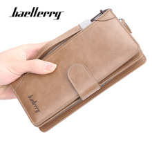 Baellerry Brand Luxury Men Wallet High-quality Leather Long Clutch Purses Buckle Zipper High Capacity Business Wallet