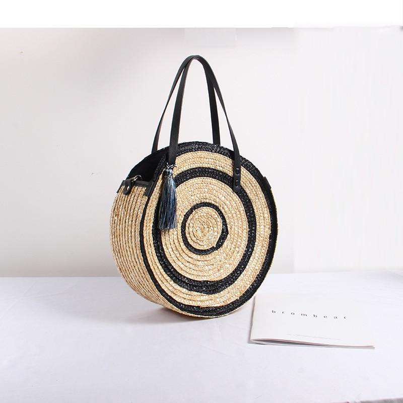 Large Capacity Straw Bag Hand-woven Bag Women's New Fashion  Shoulder Tassels Round Beach Bag