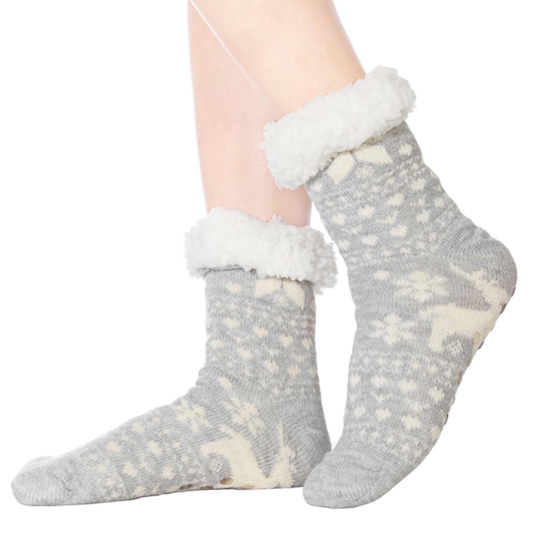 Skinfullysweet Women Slip Home Floor Socks Autumn And Winter Thick Plush Knit Cotton Socks Warm Reindeer Knit Socks Unisex