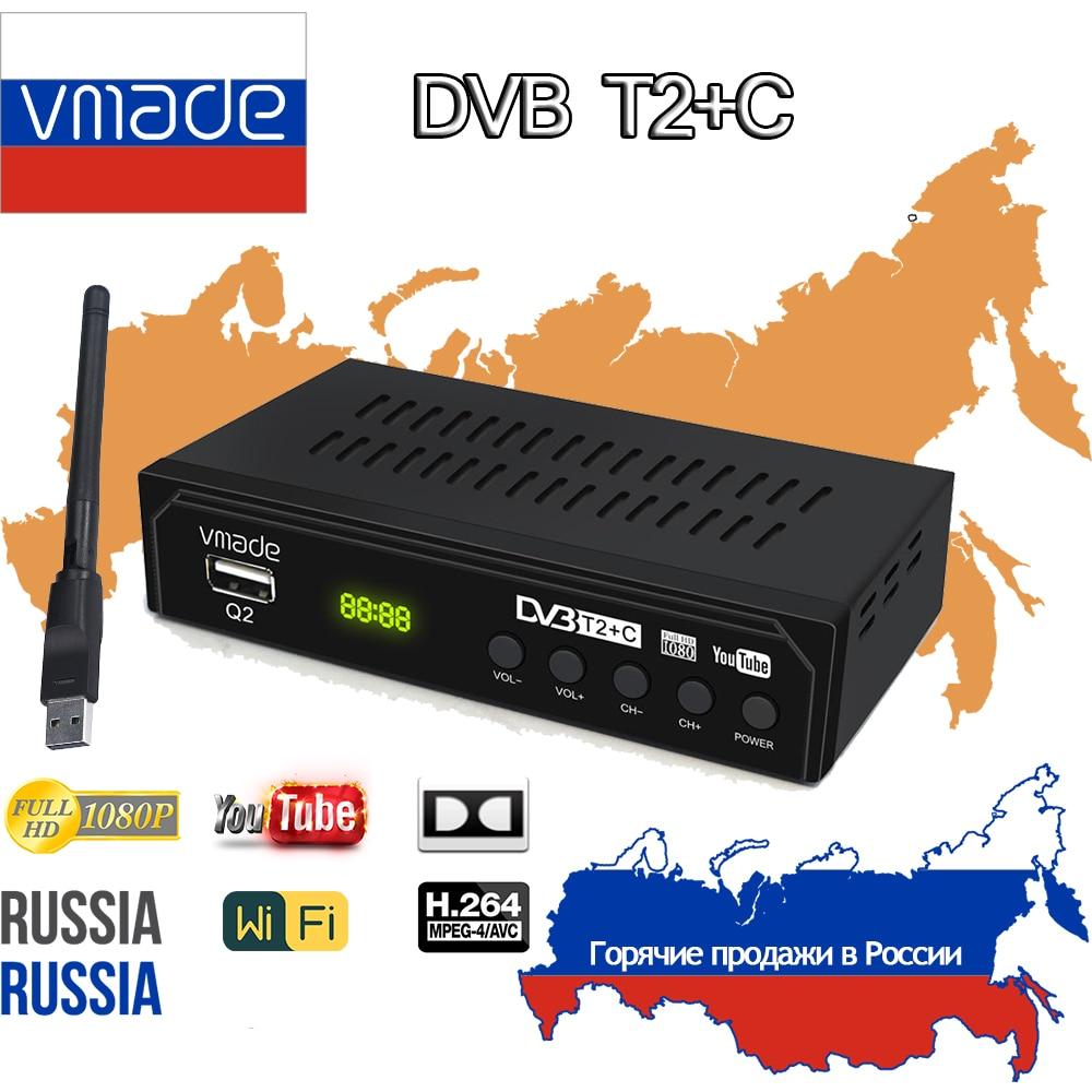 Sintonizador de TV Digital HD DVB C t2, receptor de televisión con Wifi, sintonizador DVB T2, Youtube, Ruso