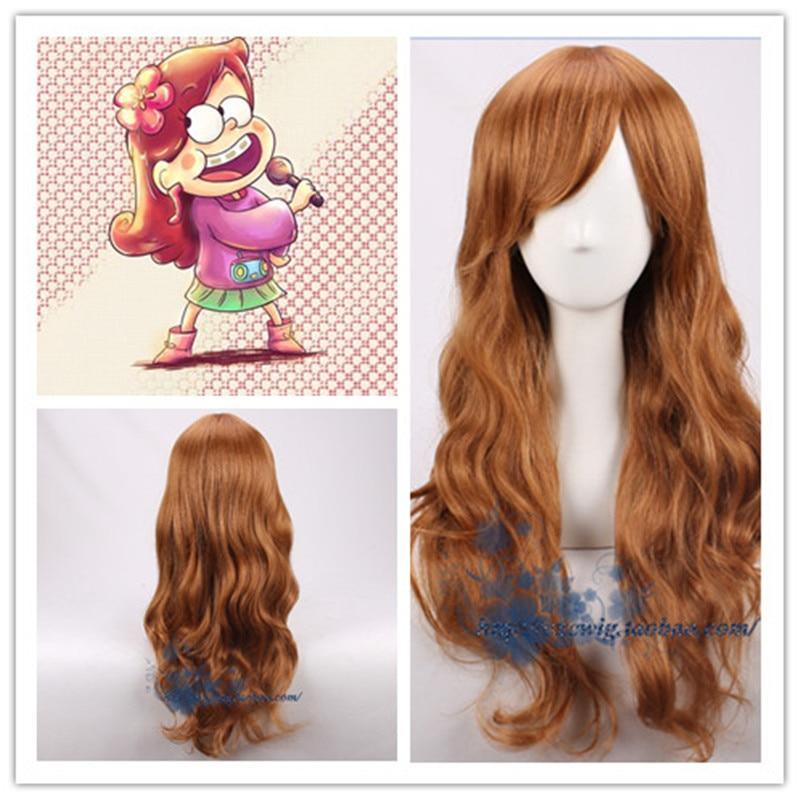 Gravity Falls Cosplay Girl Mabel Pines Wig Women 55cm Long Brown Wavy Hair Wig Costumes With Free Hair Cap