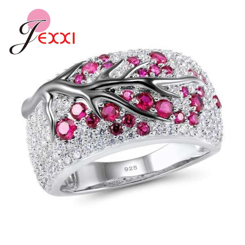 Korean Trend 925 Sterling Silver Exquisite Gem Stone Rings For Women Tree Branch Design Cubic Zirconia Engagement Jewelry
