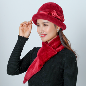 Image 5 - ใหม่หมวกฤดูหนาวหมวกชุดผู้หญิงอบอุ่นถัก Skullies ขนสัตว์กระต่าย Beanies สีทึบ Mink Plush Bow Baggy หมวก Headwear