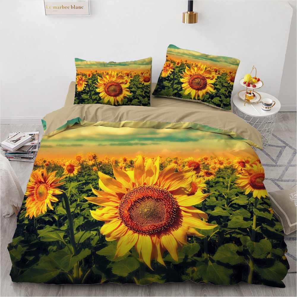 3D Custom Bedding Sets Flower Plant Duvet Quilt Cover Set Comforter Bed Linens Pillowcase King Queen Full Double Home Texitle