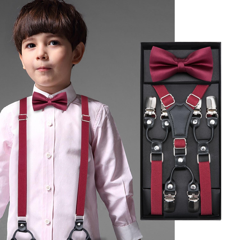 Kids Dark Red Bow Tie Elastic Suspender Boys Girls Wedding Party Adjustable Suspender Children Leather Y-Back Brace Belt DiBanGu