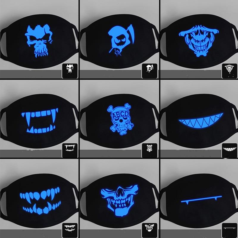Cotton Dustproof Anime Cartoon Kpop Lucky Bear Woman Men Glow In Dark Skull Mouth Masks Black Mask Mouth Half Muffle Face Mask