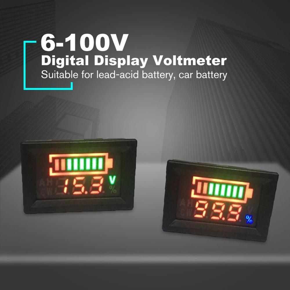 6-100V 12V 24V Dual Display Voltmeter Lead Acid Battery Percentage Digital Voltage Power Meter Anti-reverse Connection