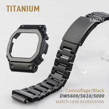 XAOZU New Camouflage Titanium Alloy Watchbands and Bezel For DW5600 5610 DW5000 5035 Metal Strap Steel Bracelet Cover With Tools