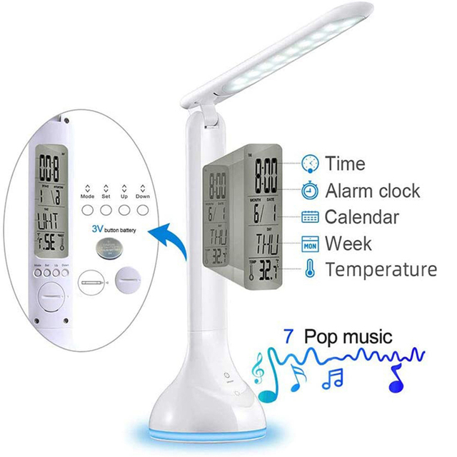 Фото светодиодная настольная лампа с будильником календарем регулируемой