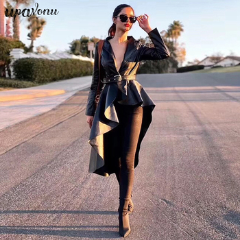 2019 Fashion Autumn Pu Leather Ladies Jacket Coat Coat Lapel Long Sleeve Irregular Belt Hem Ruffled Ladies Jacket Coat цена 2017
