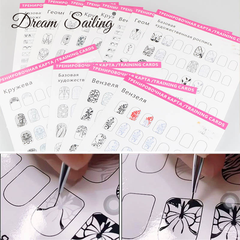 12 pcs Manicure Training Card Nail Practice Painting Drawing Gel Polish Template Guiding Book False Nail Brush Manicure Tool