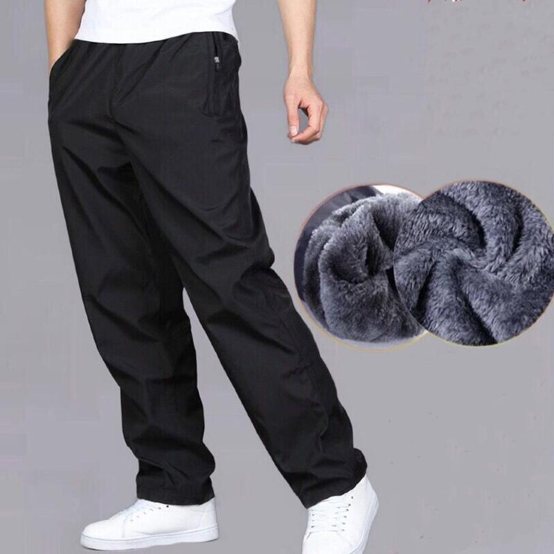 Men's Sweatpant Trousers Autumn Winter Plus Velvet Warm Pants Quick drying Loose Straight Summer Wear resistant Waterproof Pant