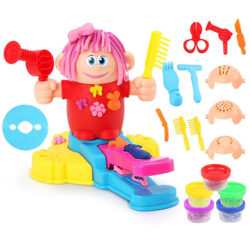 Kids Role Play Educational Toys Environmental Protection ABS Plastic DIY Hairdresser Barber With Safe Nontoxic Clay