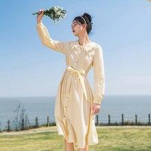INMAN-vestido entallado de manga larga para mujer, cuello de muñeca, cintura media, elegante, primavera, 2021