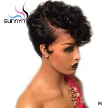 Sunnymay 13x4 Короткие парики из человеческих волос, стриженый парик 150%, предварительно выщипанный Боб, парик Remy, бразильские бесклеевые парики на кружеве