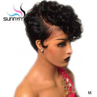 Sunnymay 13x4 Short Human Hair Wigs Pixie Cut Wig 150% Pre Plucked Bob Wig Remy Brazilian Glueless Lace Front Human Hair Wigs
