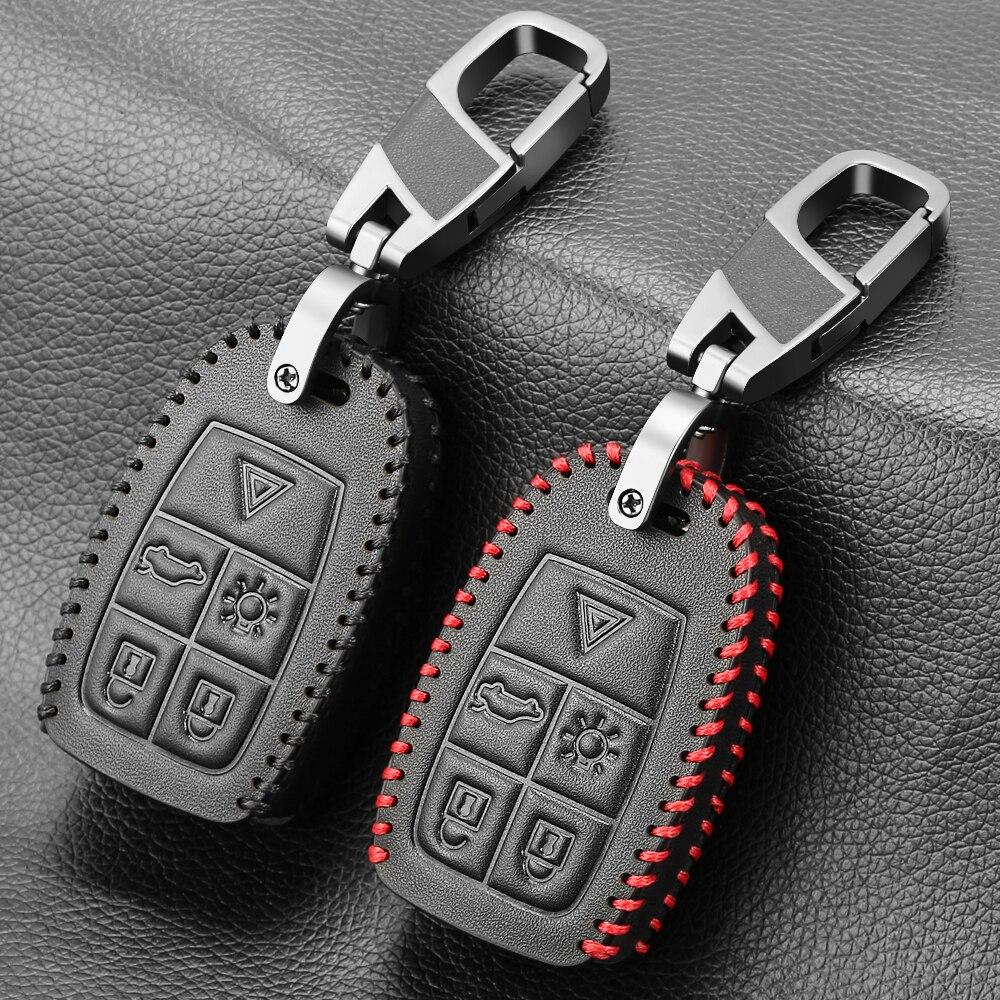Etui clés de voiture en cuir véritable pour Volvo XC90 C70 S60 D5 V50 S40 C30 étui à clé à distance pour porte-clés alarme voiture télécommande