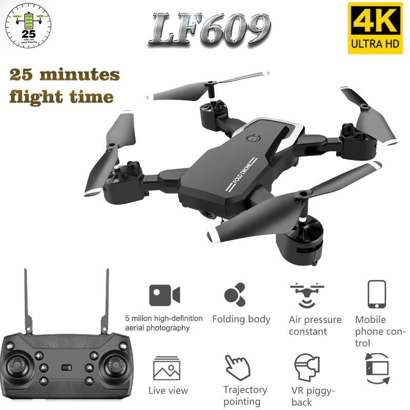 LF609 Drone 4K with HD Camera WIFI 1080P Dual Camera Follow Me Quadcopter FPV Professional Drone Long Battery Life Toy For Kids(China)