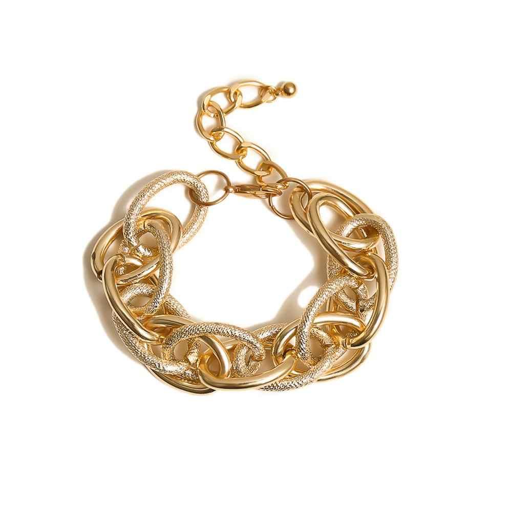 SHIXIN Punk Chunky kubański Link Chain bransoletki dla kobiet Hip Hop złoty urok bransoletka Femme komunikat łańcuch ręczny biżuteria