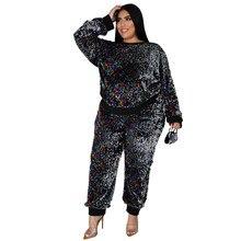 Plus rozmiar odzież damska dwuczęściowy zestaw z długim rękawem pulowerowe topy party cekiny pasujące zestawy pant Suits luzem przedmiotów hurtowych partii