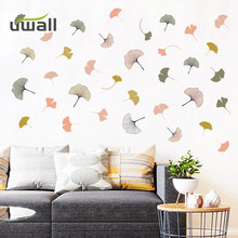 Fresh 143 pcs Ginkgo Biloba Wall Stickers Home Decor Living Room Self Adhesive Stickers Kids Bedroom Background Wall Decoration