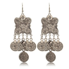 Fashion retro new ethnic wind earrings geometric shape punk lady tassel coin wholesale ornaments
