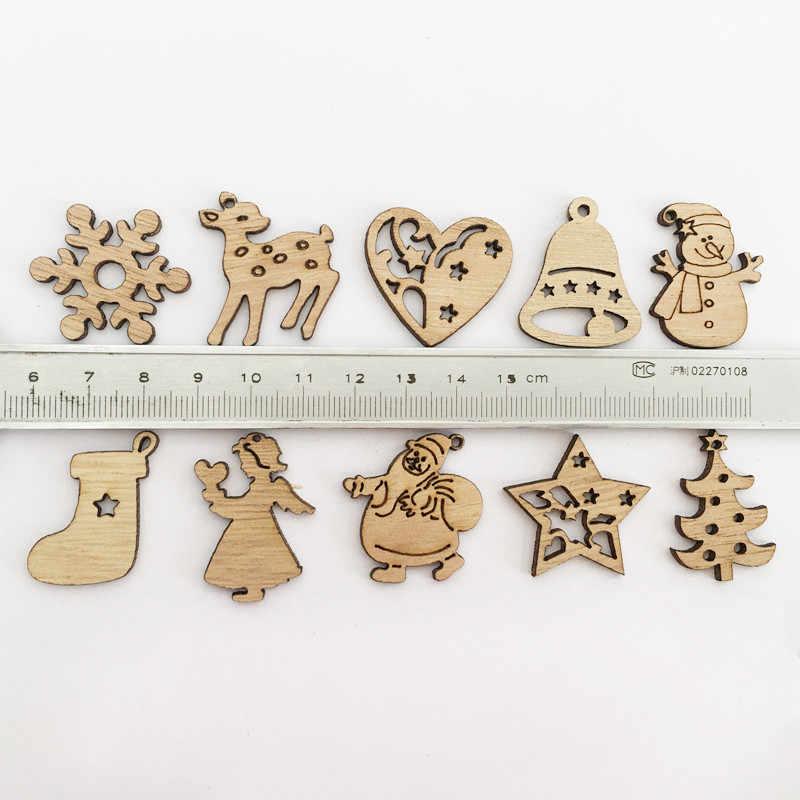50 Stuks Nieuwe Jaar Natuurlijke Hout Kerstboom Ornament Houten Opknoping Hangers Geschenken Sneeuw Elanden Kerst Decora Adornos De Navidad