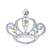 New crown brooch crystal Korean version of chest flowers jewelry pin