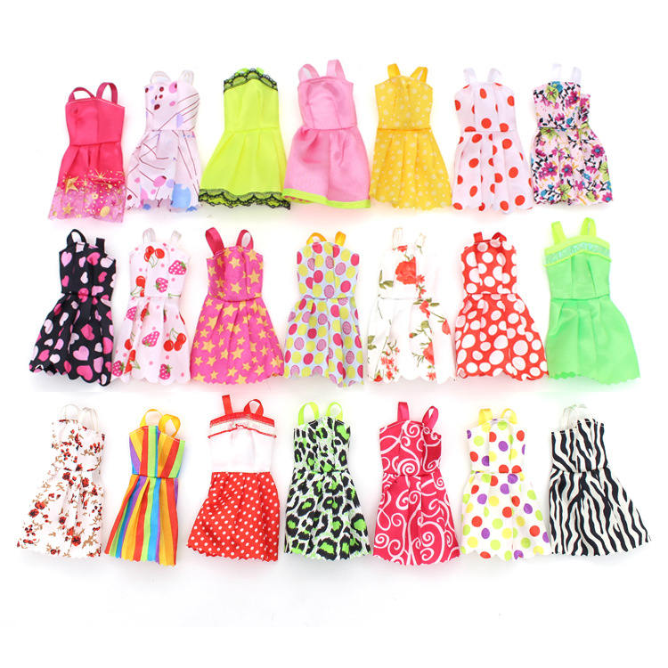 10Pcs/Set Doll Gifts Accessories Dressup Clothes Set Colorful Short Skirt DIY Furniture Clothing Color Random For Barbie Doll