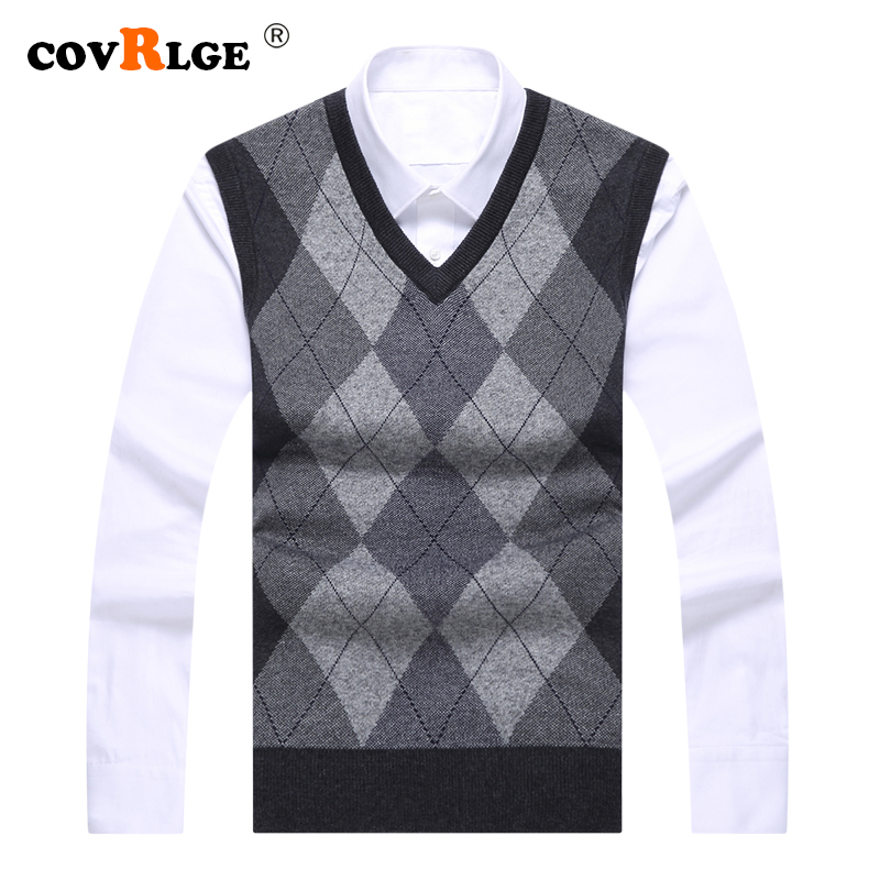 Covrlge 2019 Fashion Brand Sweater Mens Pullovers V Neck Slim Fit Jumpers Knit Sleeveless Autumn Casual Style Men Clothes MZB003
