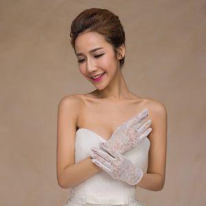 Женские цветочные кружевные белые короткие перчатки полная длина запястья просвечивается сплошной цвет свадебные варежки Винтажные