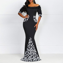 купить Women Bodycon Party Dress Elegant Summer Black Off Shoulder Maxi Dresses Floral Mermaid Sexy Robe Vintage Lace Ladies Long Dress дешево