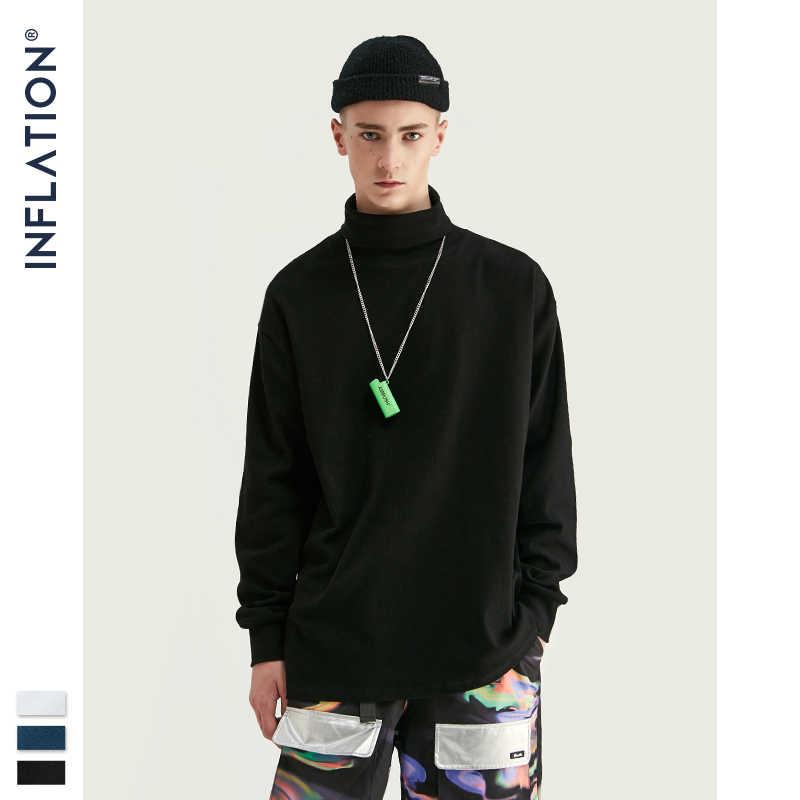 INFLATION mężczyźni koszulka z długim rękawem Streetwear wysoki kołnierz Retro koszulka sweter mężczyźni Hip Hop czarny biały mężczyzna koszulka 91511W