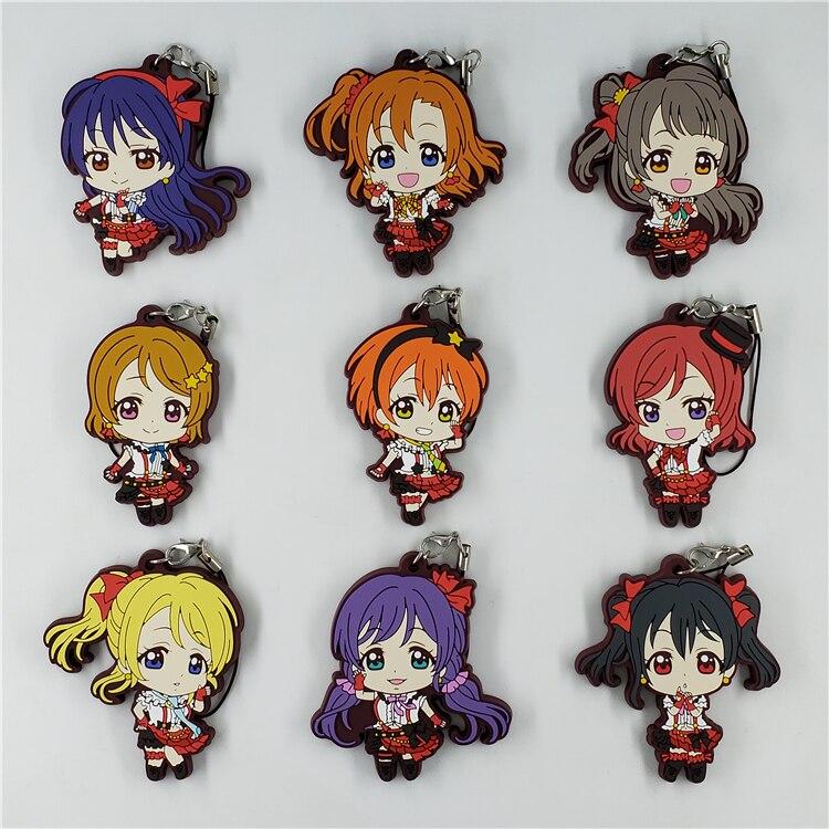 Kotori Nico Eli Rin Umi Maki Nozomi Kousaka Anime Love Live! Lovelive! Dress Version Rubber Keychain