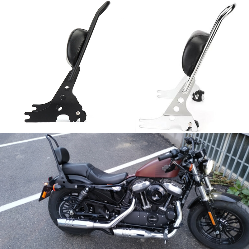 For Sportster XL883 XL1200 XL 883 1200 48 Rack Sissy Bar Rear Passenger Backrest Cushion Pad Motorcycle Luggage Black & Chrome
