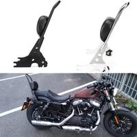 For Sportster XL883 XL1200 XL 883 1200 48 Rack Sissy Bar Rear Passenger Backrest Cushion Pad Motorcycle Luggage Black & Chrome