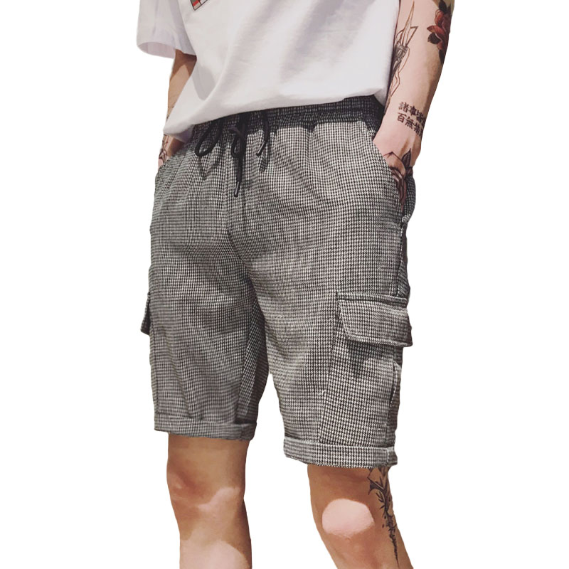 Elastic Men Casual Shorts Beach Summer Stretch Shorts Men With Pockets Polyester Fashion Slim Roupas Mens Half Pants XX60MS