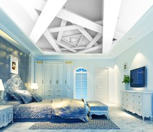 купить Custom ceilings 3d ceiling murals wallpaper 3d white polygonal ceiling wall background по цене 918.35 рублей