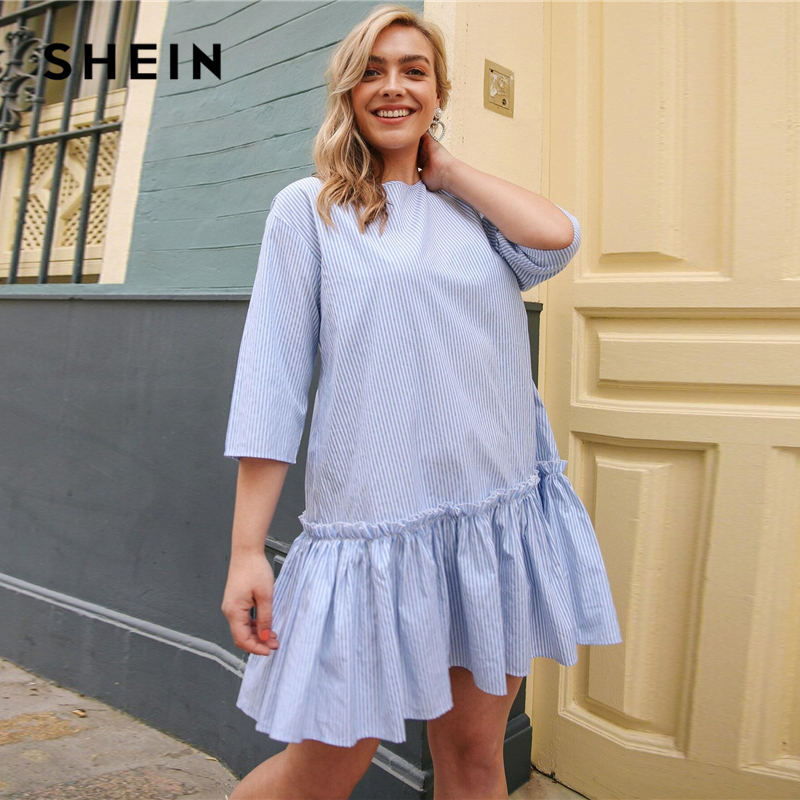 SHEIN Plus Size Blue Button Back Ruffle Hem Striped Dress Women Summer Spring Drop Waist Cute Smock Loose Short Dresses 2