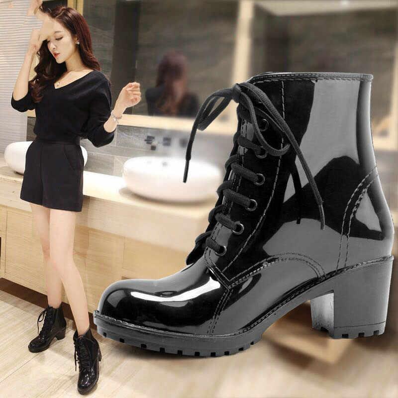 Kadın ayak bileği yağmur çizmeleri sonbahar Oxford düz ayakkabı kadın elbise fermuar ayakkabı resmi OL yüksek topuklu bayan siyah ayakkabı 369