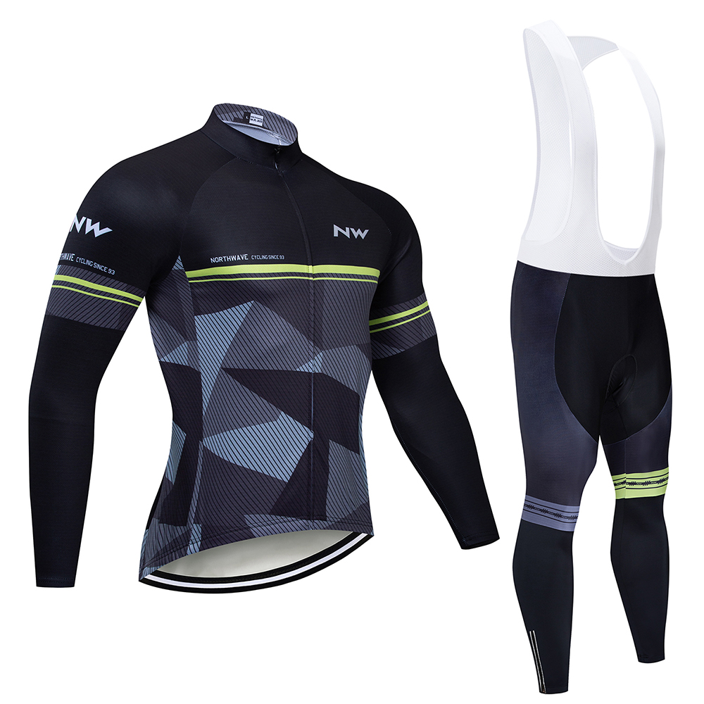 NW 2019 Long Sleeve Spring And Autumn Cycling Jersey Set Men's Breathable Riding Bicycle Cycling Clothing Bike Shirt Bib Pants